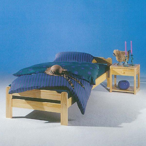 bett kiefer massiv natur lackiert jugendbett kieferbett liegefl che 90x200 cm ebay. Black Bedroom Furniture Sets. Home Design Ideas