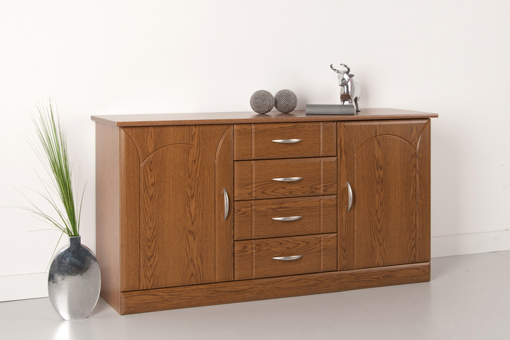 sideboard kommode anrichte 2 t ren 4 schubk sten eiche. Black Bedroom Furniture Sets. Home Design Ideas