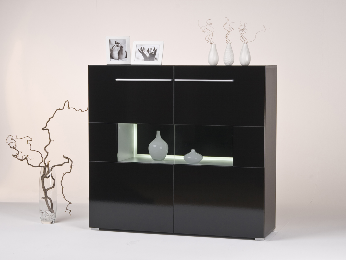 highboard sideboard anrichte wei oder schwarz optional mit beleuchtung ebay. Black Bedroom Furniture Sets. Home Design Ideas