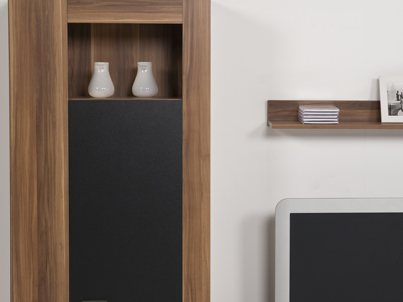 wohnwand schrankwand anbauwand nussbaum schwarz breite. Black Bedroom Furniture Sets. Home Design Ideas