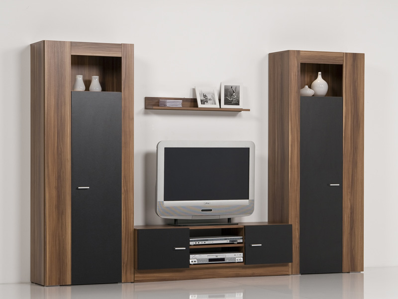 wohnwand schrankwand anbauwand nussbaum schwarz breite 259 cm mit beleuchtung ebay. Black Bedroom Furniture Sets. Home Design Ideas