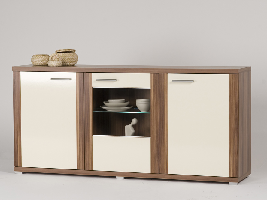 sideboard kommode nussbaum walnuss front creme gl nzend wahlweise beleuchtung ebay. Black Bedroom Furniture Sets. Home Design Ideas