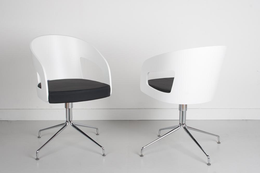 drehstuhl designer esszimmestuhl von brinkmann lack wei sitz kunstleder schwarz ebay. Black Bedroom Furniture Sets. Home Design Ideas