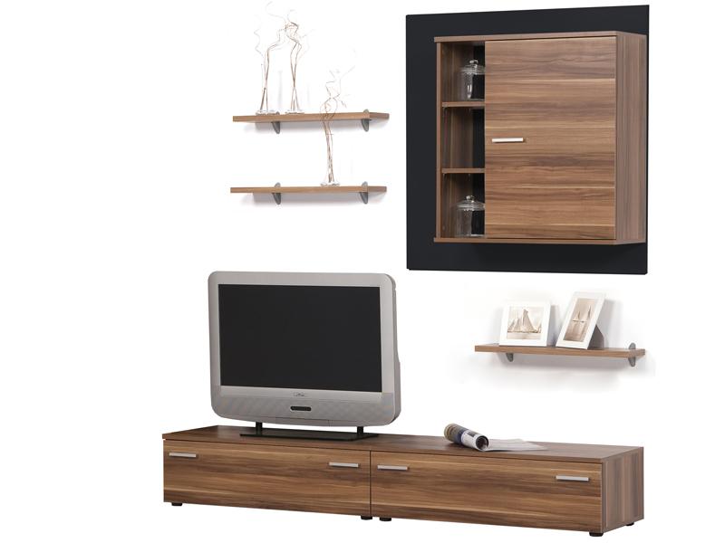 wohnkombination wohnwand lowboard nussbaum schwarz. Black Bedroom Furniture Sets. Home Design Ideas