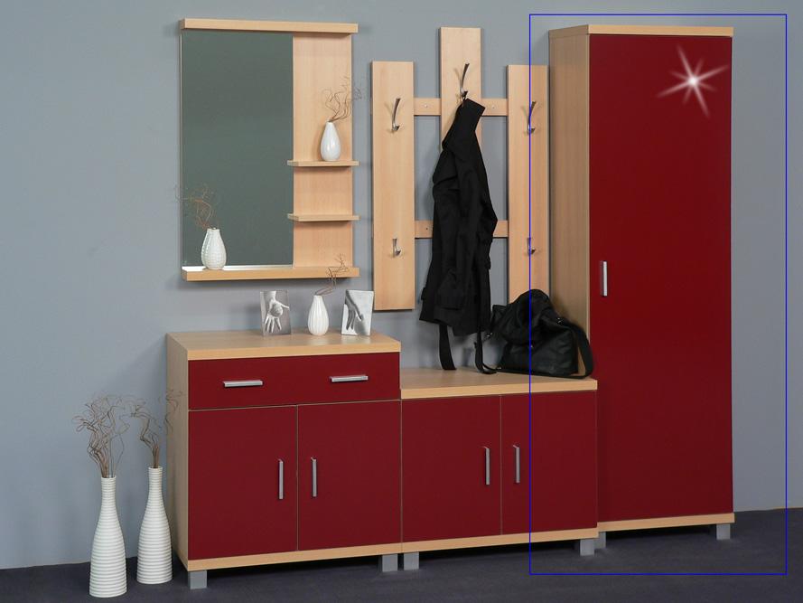 garderobenschrank seitenschrank dielenschrank garderobe buche rot hochglanz ebay. Black Bedroom Furniture Sets. Home Design Ideas