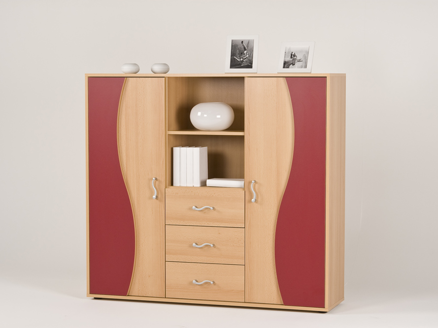 highboard sideboard kommode anrichte buche rot ebay. Black Bedroom Furniture Sets. Home Design Ideas