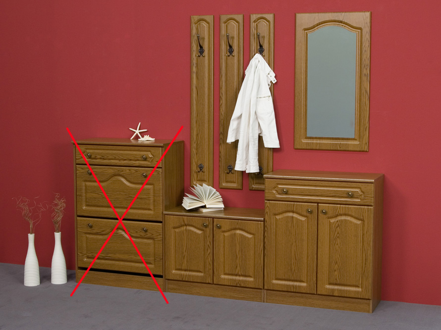 garderobe garderobenset 4 teilig eiche rustikal dekor front mdf ebay. Black Bedroom Furniture Sets. Home Design Ideas