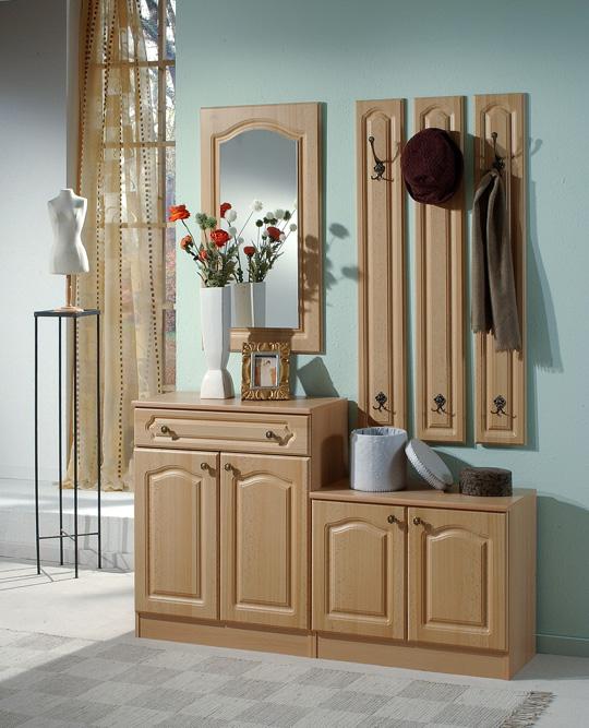 garderobe garderobenset 4 teilig buche dekor front mdf ebay. Black Bedroom Furniture Sets. Home Design Ideas