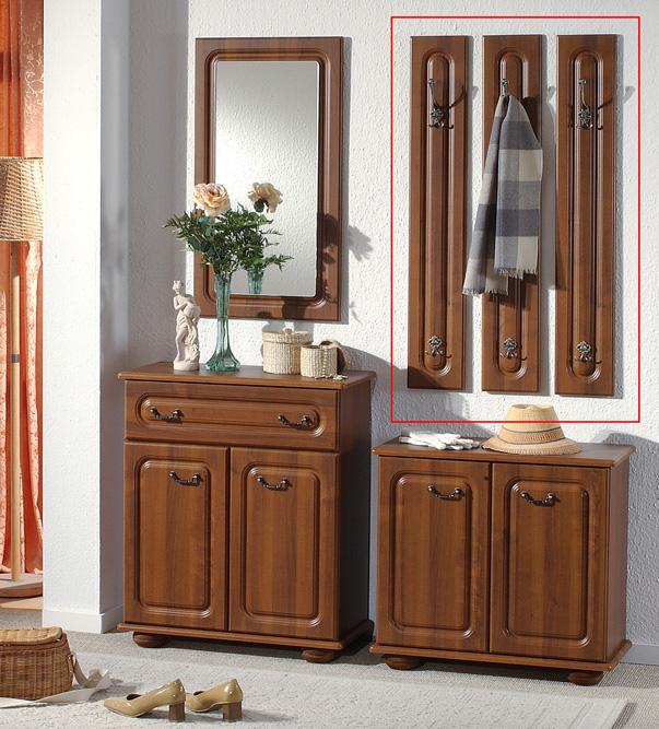 wandpaneel 3er set garderobe paneel wandgarderobe kleiderhaken nussbaum dekor. Black Bedroom Furniture Sets. Home Design Ideas