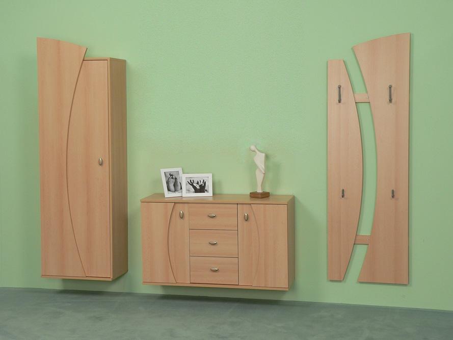 garderobe garderobenset flurgarderobe wandgarderobe wandh ngend buche dekor ebay. Black Bedroom Furniture Sets. Home Design Ideas