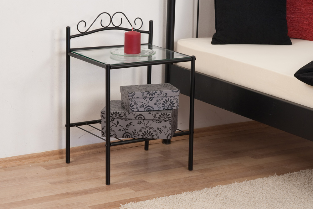 metall nachtkonsole nachttisch schwarz metallnachttisch. Black Bedroom Furniture Sets. Home Design Ideas