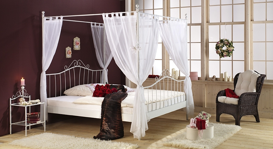 himmelbett metallbett doppelbett wei liegefl che 140 x 200 cm ebay. Black Bedroom Furniture Sets. Home Design Ideas