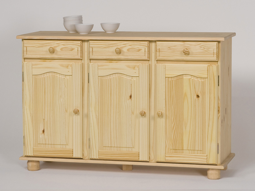 kommode anrichte sideboard kiefer massiv natur farblos lackiert ebay. Black Bedroom Furniture Sets. Home Design Ideas