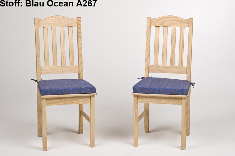stuhl 2er pack holzstuhl massiv kiefer natur oder gelaugt ge lt mit kissen ebay. Black Bedroom Furniture Sets. Home Design Ideas