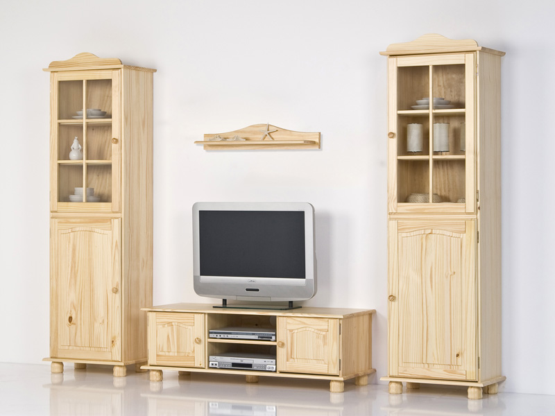 wohnwand kiefer massiv natur farblos lackiert ebay. Black Bedroom Furniture Sets. Home Design Ideas