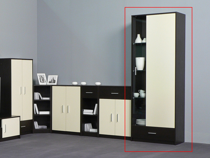 vitrine glasvitrine vitrinenschrank wenge front creme mit innenbeleuchtung ebay. Black Bedroom Furniture Sets. Home Design Ideas