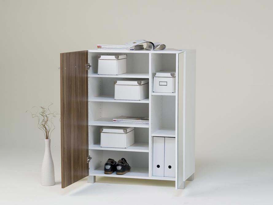 schuhschrank schuhkommode mehrzweckschrank wei front nussbaum spiegelt r ebay. Black Bedroom Furniture Sets. Home Design Ideas