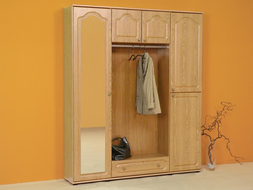 Kompakt garderobe garderobenschrank berbaugarderobe eiche for Garderobe natur