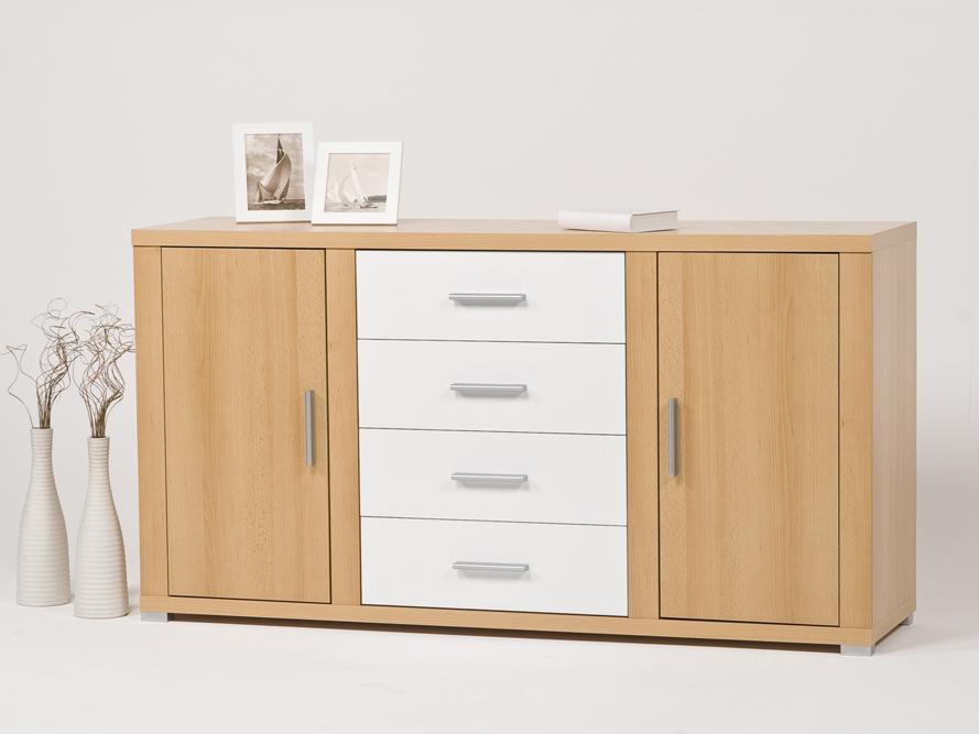 Sideboard Kommode Buche - Schubkästen weiß glänzend  eBay