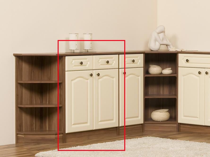 kommode sideboard landhaus 2 t ren 2 schubk sten nussbaum creme front mdf ebay. Black Bedroom Furniture Sets. Home Design Ideas