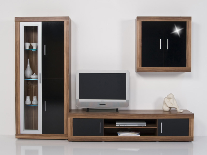 wohnwand nussbaum walnuss front schwarz hochgl b 260 cm ebay. Black Bedroom Furniture Sets. Home Design Ideas