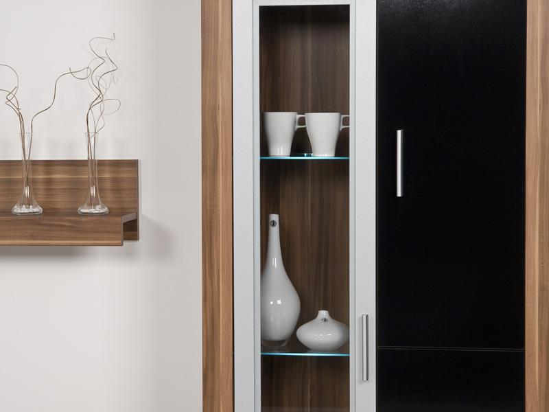 wohnwand nussbaum walnuss front schwarz hochglanz. Black Bedroom Furniture Sets. Home Design Ideas