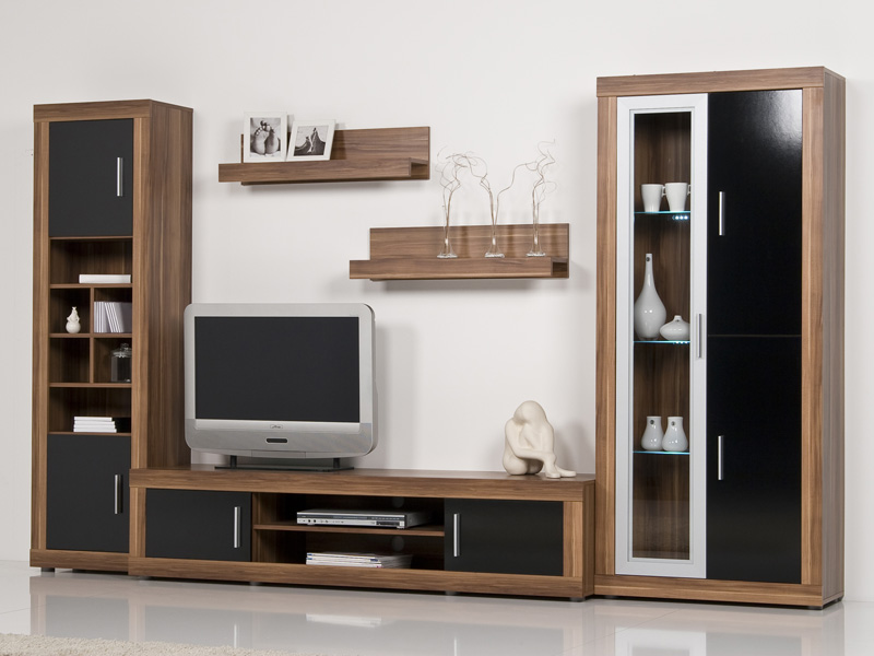 wohnwand nussbaum walnuss front schwarz hochglanz. Black Bedroom Furniture Sets. Home Design Ideas