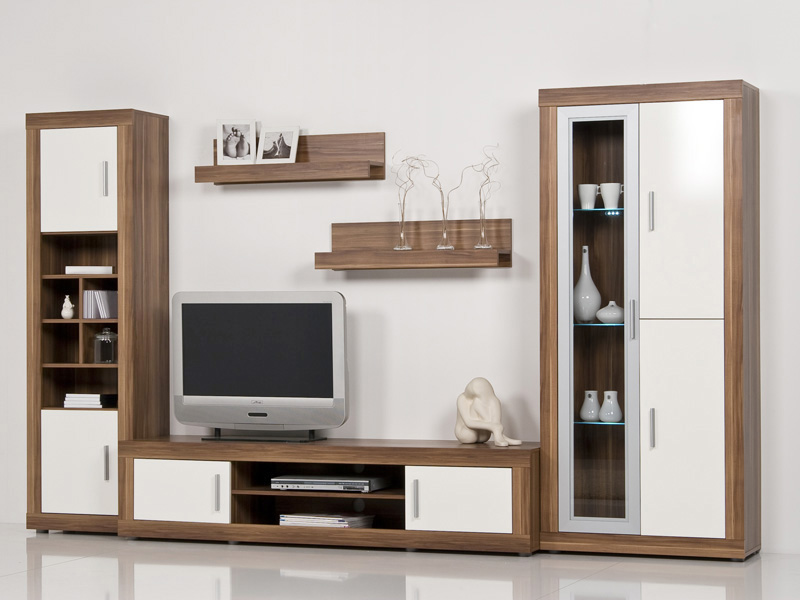 wohnwand nussbaum walnuss front wei hochglanz b 312cm ebay. Black Bedroom Furniture Sets. Home Design Ideas