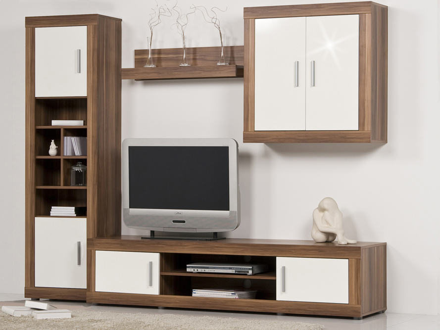 wohnwand anbauwand schrankwand nussbaum walnuss front wei hochglanz b 233 cm ebay. Black Bedroom Furniture Sets. Home Design Ideas