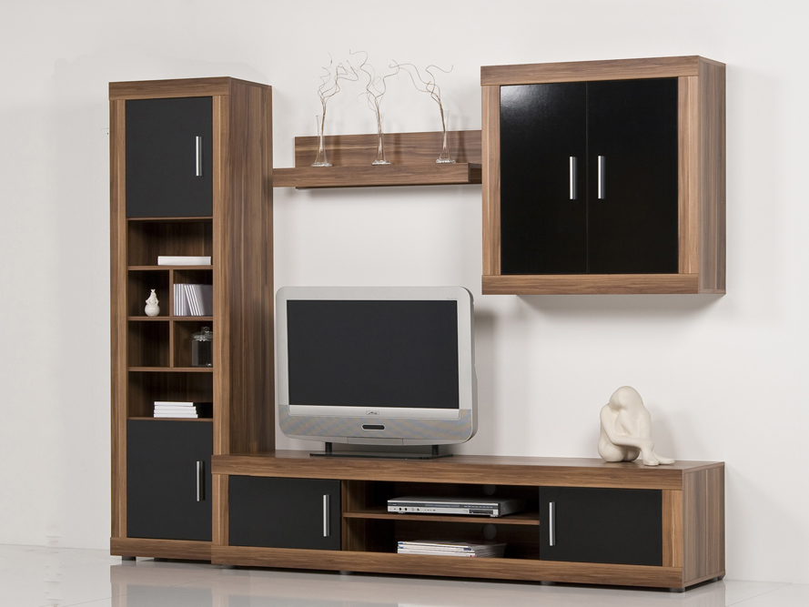 wohnwand anbauwand schrankwand nussbaum walnuss front schwarz hochglanz b 233 cm ebay. Black Bedroom Furniture Sets. Home Design Ideas