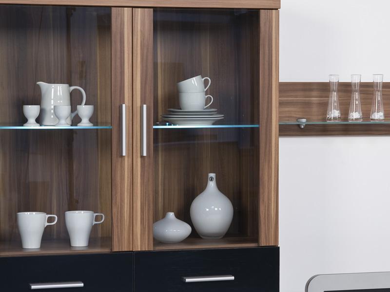 wohnwand anbauwand wohnzimmer schrankwand nussbaum walnuss. Black Bedroom Furniture Sets. Home Design Ideas