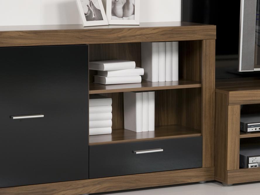 wohnwand schrankwand anbauwand nussbaum schwarz gl nzend. Black Bedroom Furniture Sets. Home Design Ideas