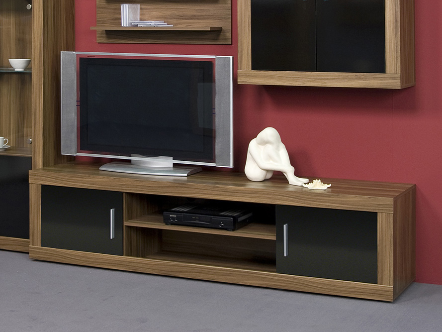 lowboard tv schrank tv element fernsehschrank nussbaum schwarz breite 190cm ebay. Black Bedroom Furniture Sets. Home Design Ideas