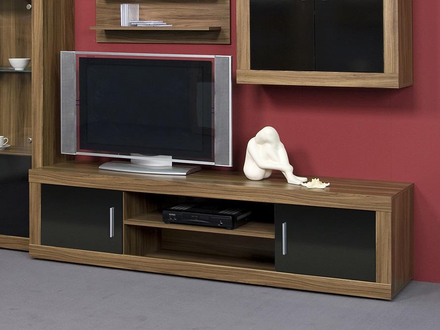 Lowboard TV-Schrank / TV-Element / Fernsehschrank Nussbaum Schwarz- Breite 190cm  eBay
