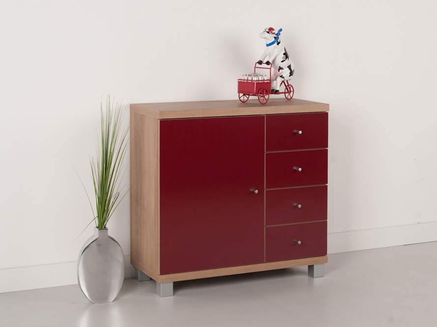 kommode anrichte sideboard schubkasten noce nussbaum hell rot gl nzend ebay. Black Bedroom Furniture Sets. Home Design Ideas