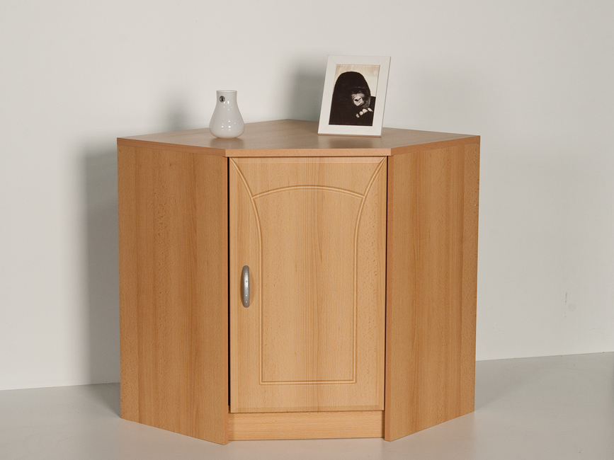 eckschrank kommode anrichte 1 t r buche dekor front mdf ebay. Black Bedroom Furniture Sets. Home Design Ideas