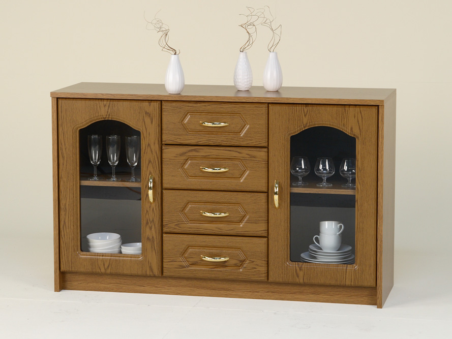 sideboard anrichte kommode 2 glast ren 4 sk eiche. Black Bedroom Furniture Sets. Home Design Ideas