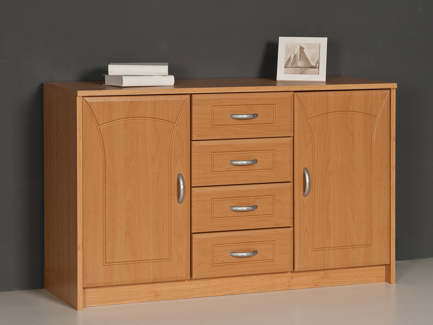sideboard kommode anrichte 2 t ren 4 schubk sten erle dekor front mdf ebay. Black Bedroom Furniture Sets. Home Design Ideas