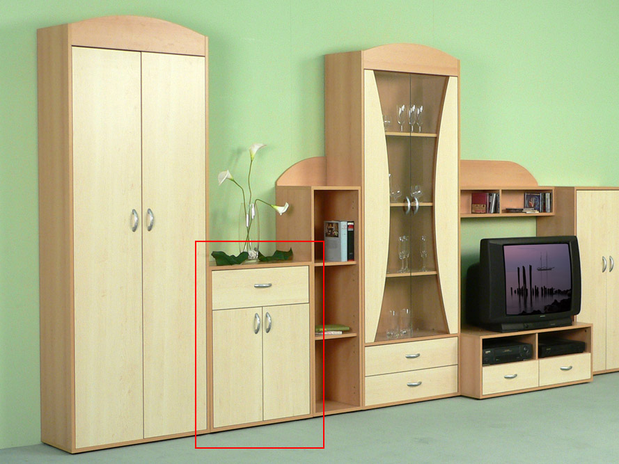anrichte kommode sideboard prima 2 t ren 1 schubkasten buche ahorn dekor ebay. Black Bedroom Furniture Sets. Home Design Ideas
