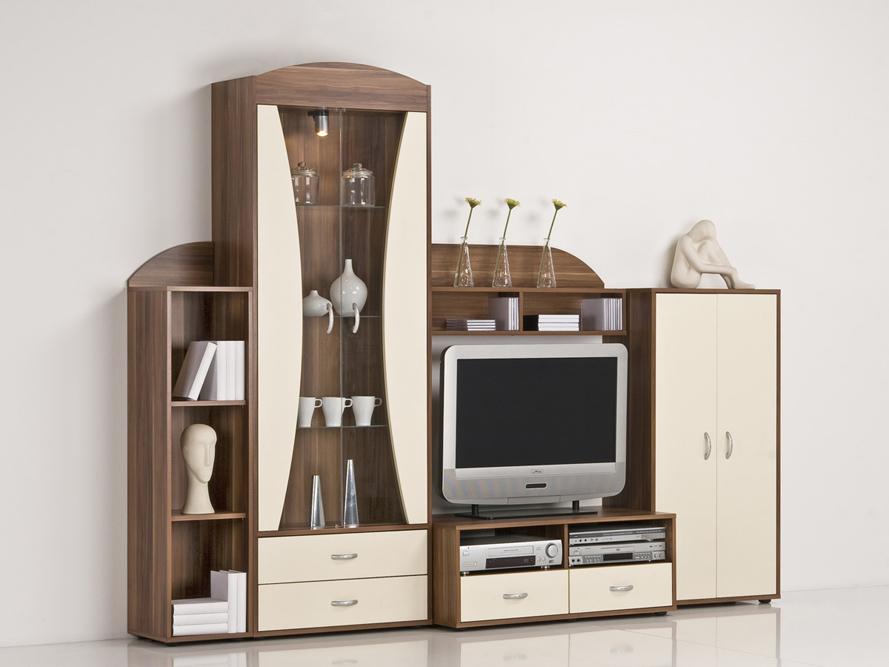 wohnwand schrankwand anbauwand nussbaum front cremefarbig mit beleuchtung ebay. Black Bedroom Furniture Sets. Home Design Ideas