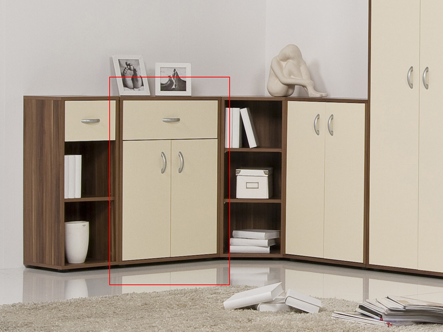 anrichte kommode sideboard prima 2 t ren 1 schubkasten walnuss nussbaum creme ebay. Black Bedroom Furniture Sets. Home Design Ideas