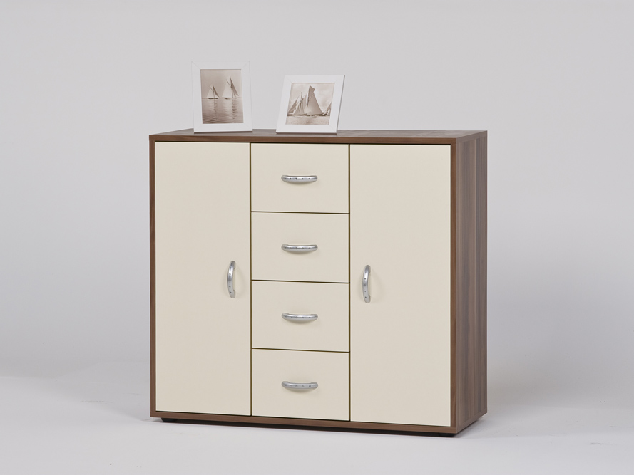 sideboard anrichte kommode mit 4 schubk sten nussbaum creme ebay. Black Bedroom Furniture Sets. Home Design Ideas
