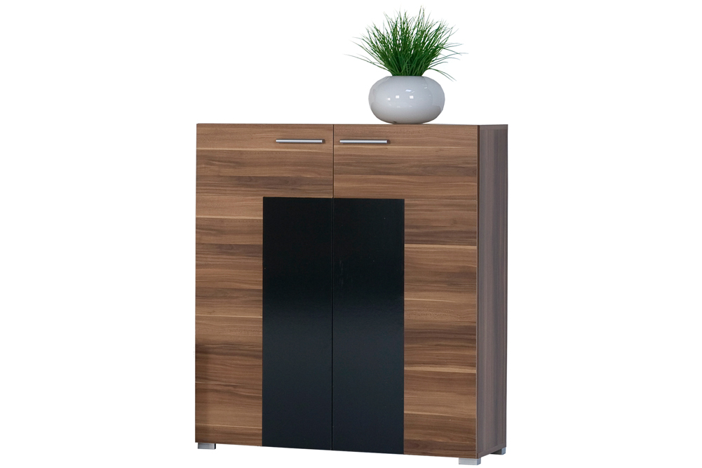 highboard kommode anrichte t renschrank nussbaum schwarz. Black Bedroom Furniture Sets. Home Design Ideas
