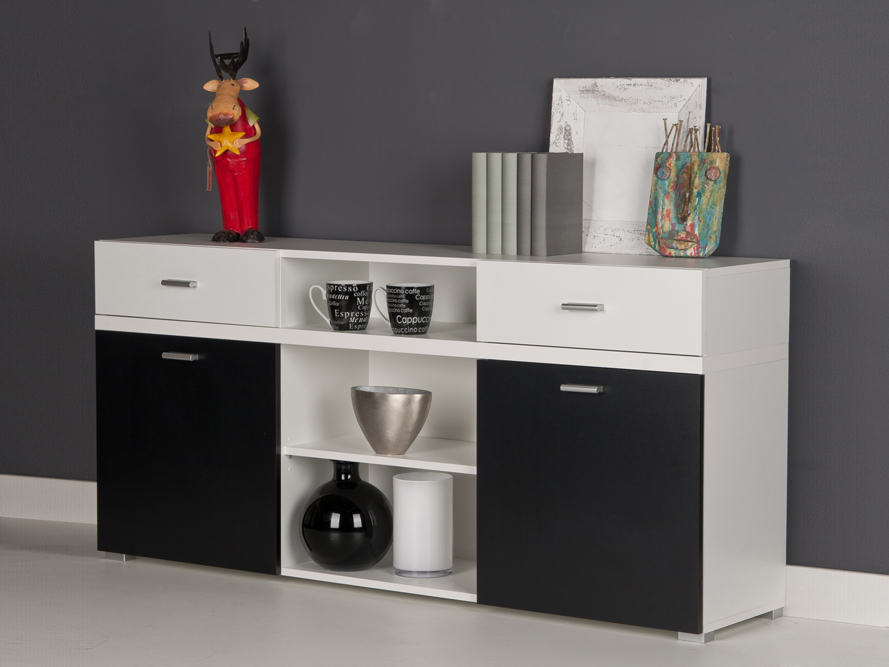 sideboard anrichte kommode wei schwarz breite 150 cm. Black Bedroom Furniture Sets. Home Design Ideas