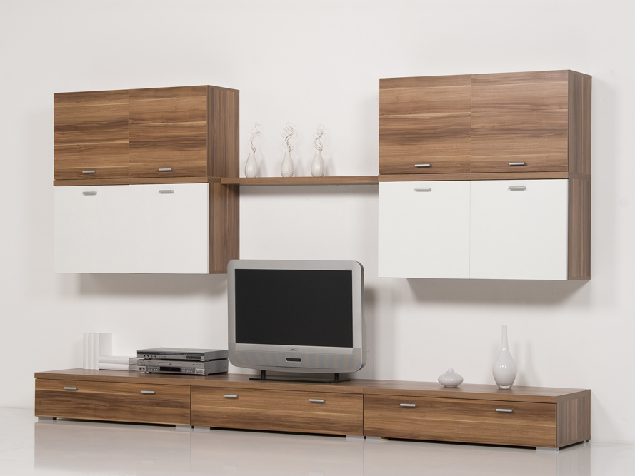wohnwand schrankwand anbauwand nussbaum wei ebay. Black Bedroom Furniture Sets. Home Design Ideas