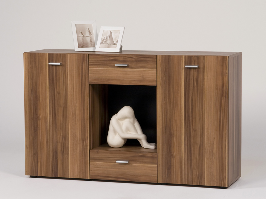 sideboard kommode anrichte 2 t ren 2 schubk sten nussbaum. Black Bedroom Furniture Sets. Home Design Ideas