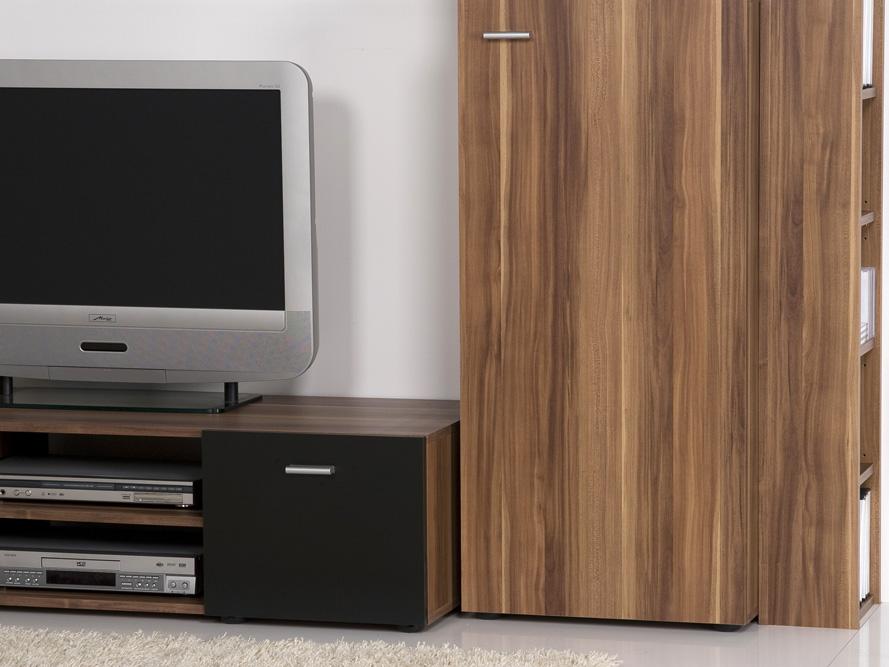 wohnwand anbauwand nussbaum schwarz design und optik. Black Bedroom Furniture Sets. Home Design Ideas