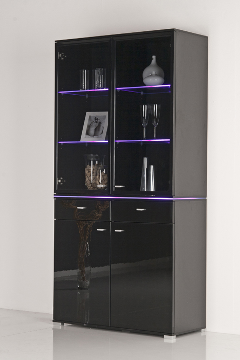 vitrine glasvitrine vitrinenschrank front schwarz hochglanz optional beleuchtung. Black Bedroom Furniture Sets. Home Design Ideas