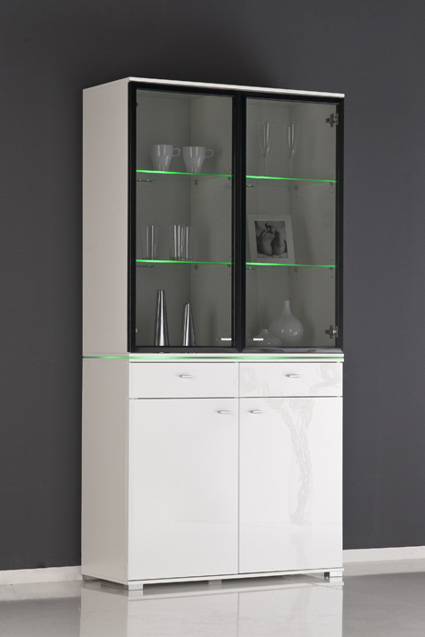 vitrine glasvitrine vitrinenschrank front wei hochglanz optional beleuchtung ebay. Black Bedroom Furniture Sets. Home Design Ideas