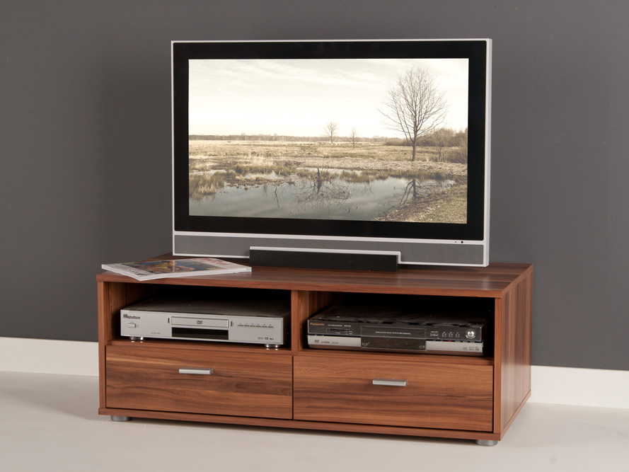lowboard tv schrank tv element fernsehschrank mit schubk sten nussbaum ebay. Black Bedroom Furniture Sets. Home Design Ideas